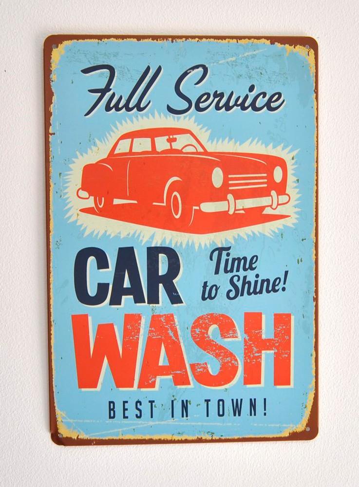 Cartel Metálico Car Wash