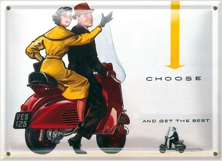 Postal Metálica Choose Vespa