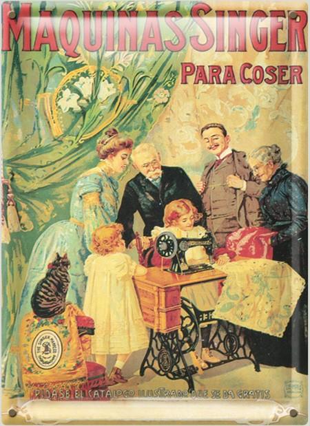 Postal Metálica Maquinas Singer Para Coser