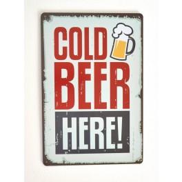 Cartel de Cerveza Cold Beer Here