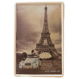 Cartel Metálico Paris Citroen 2cv