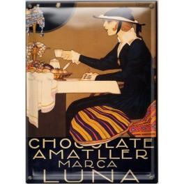 Postal Metálica Chocolate Amatller Luna