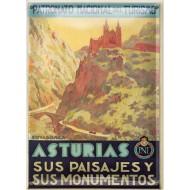 Postal Metálica Asturias Paisajes Y Monumentos