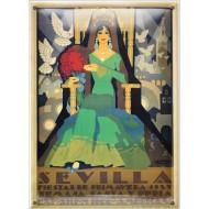 Postal Metálica Feria Sevilla 1929