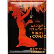 Postal Metálica Marques Del Merito Vino Y Conacs