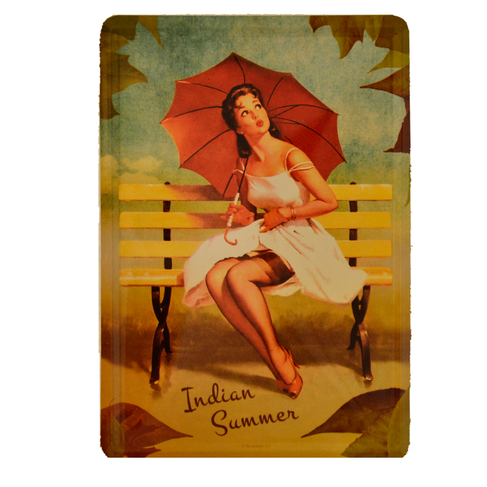 Postal Metálica Pin up, Indian Summer