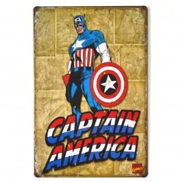 Chapa Metálica Capitan América Comic
