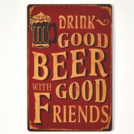 Chapa Metálica Beer Good Friends