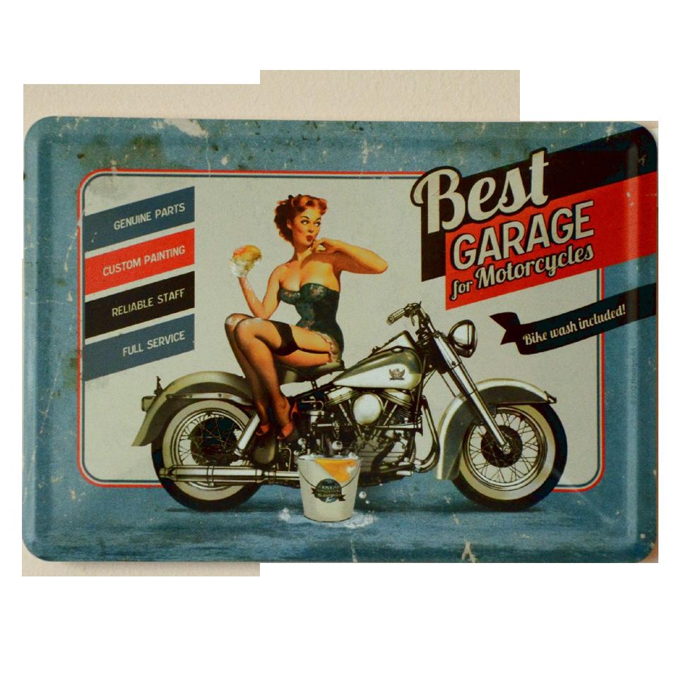 Postal Metalica Best Garage Azul