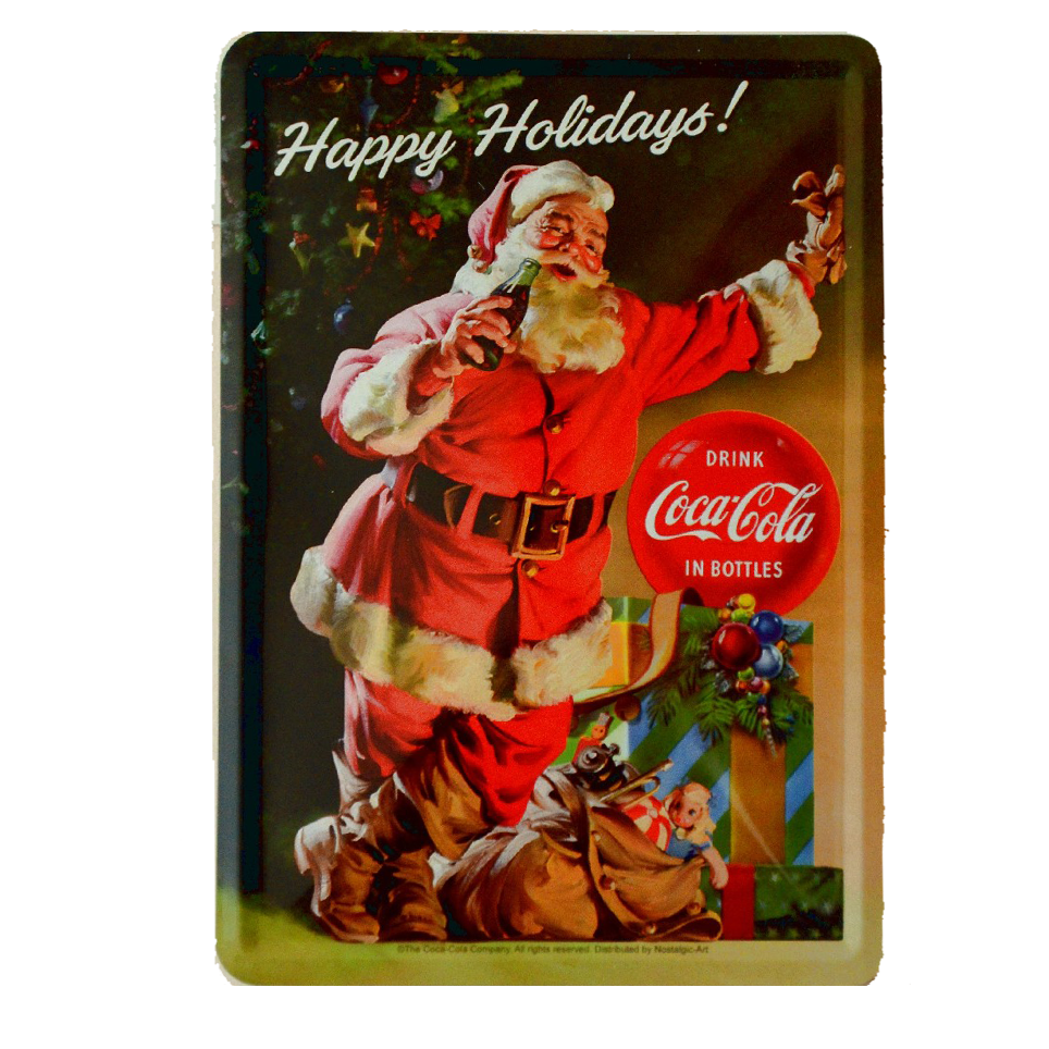 Postal Metalica Coca Cola Santa Claus