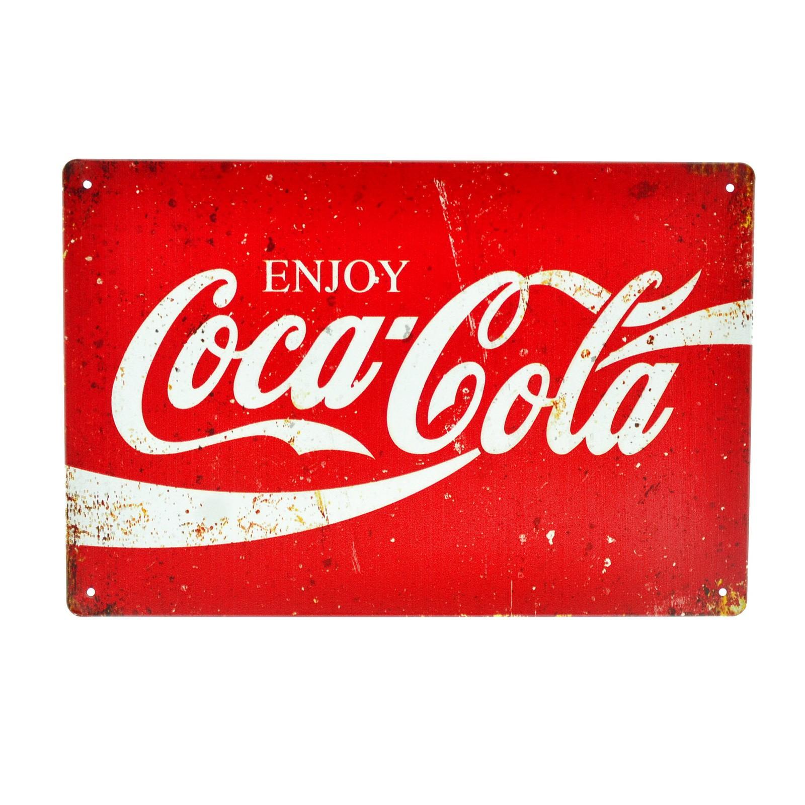 Cartel Metálico de Coca Cola logo rojo
