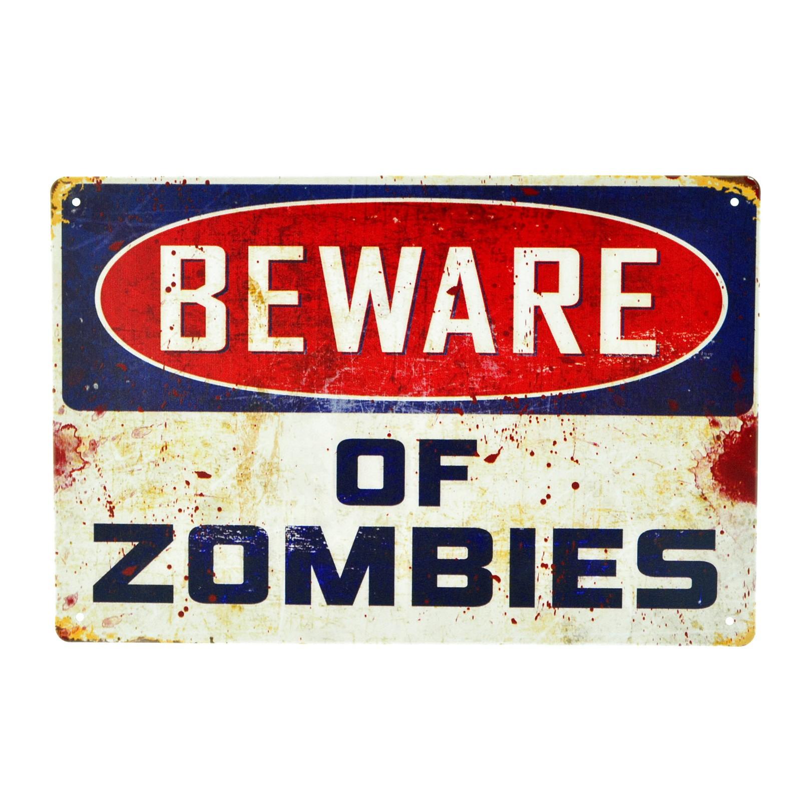 Cartel Metálico de Beware of Zombies