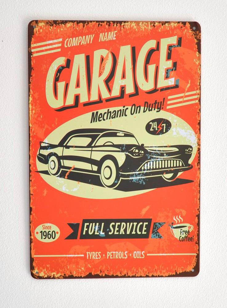 Cartel Metálico Garage, mechanic on duty