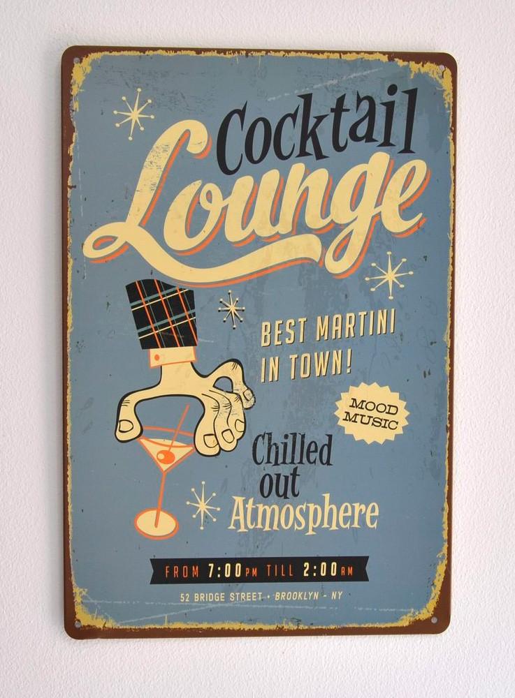 Cartel Metálico Cocktail Lounge