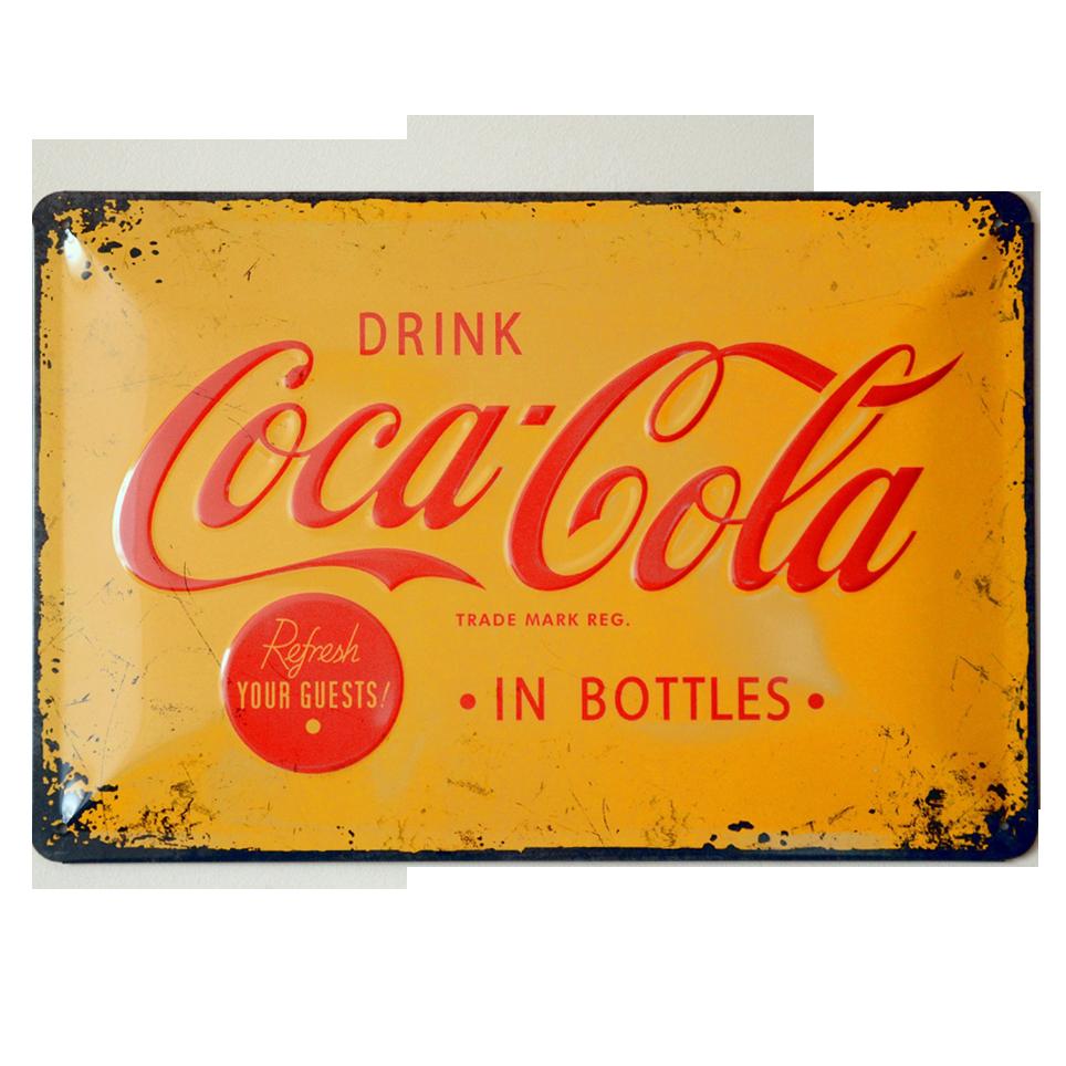 Cartel Publicitario Coca Cola Amarillo