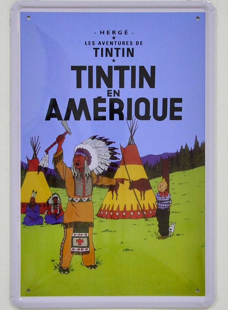 Cartel Metálico Tintín en América