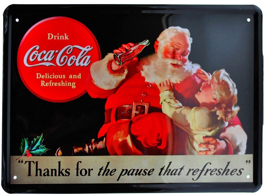 Cartel Publicitario Coca Cola Santa Claus Tinads