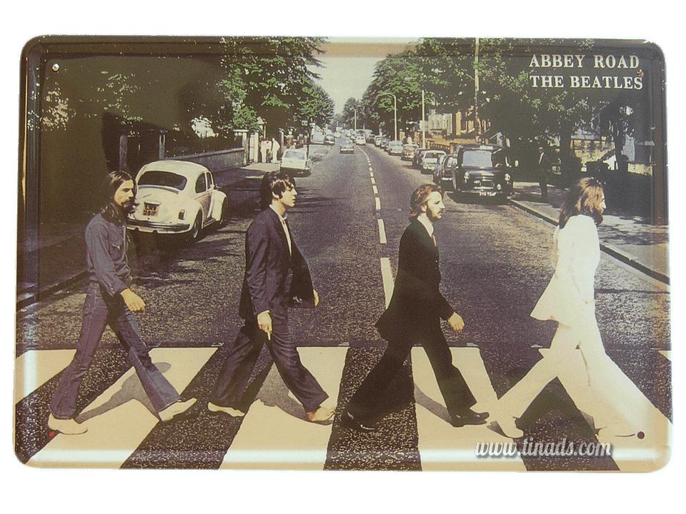 Cartel Metálico Beatles Abbey Road