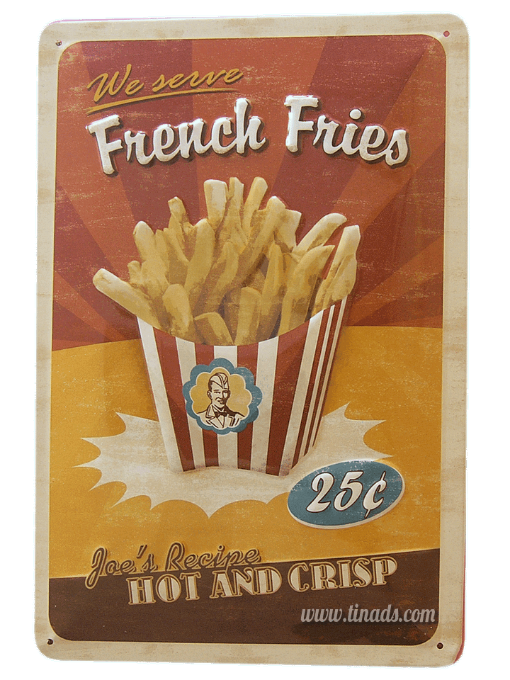 Cartel Metálico French Fries