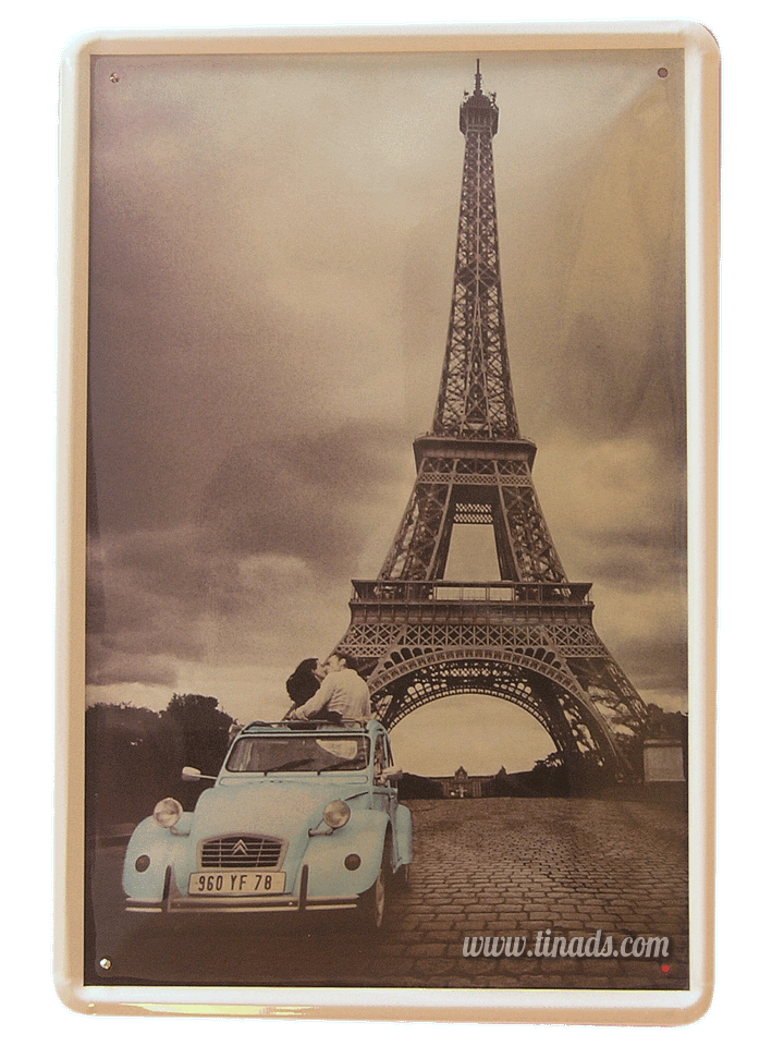 Cartel Metálico Paris Citroen 2cv