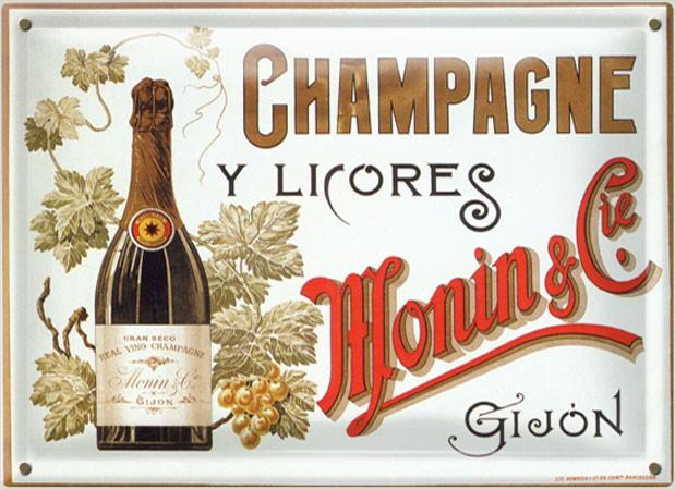 Postal Metálica Champagne Y Licores Monin