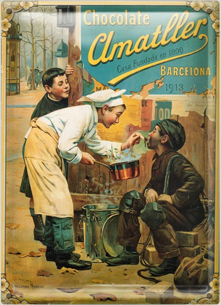 Postal Metálica Chocolate Amatller