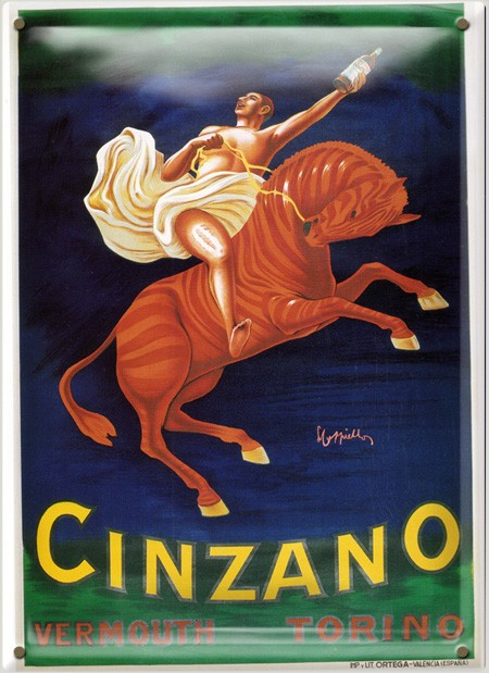 Postal Metálica Cinzano Vermouth Torino