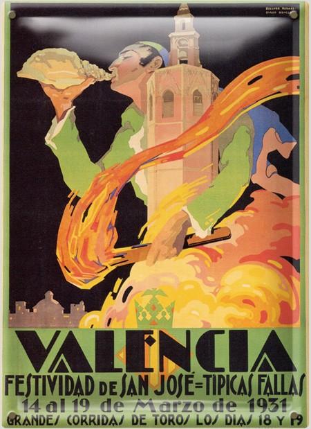 Postal Metálica Fallas Valencia 1931