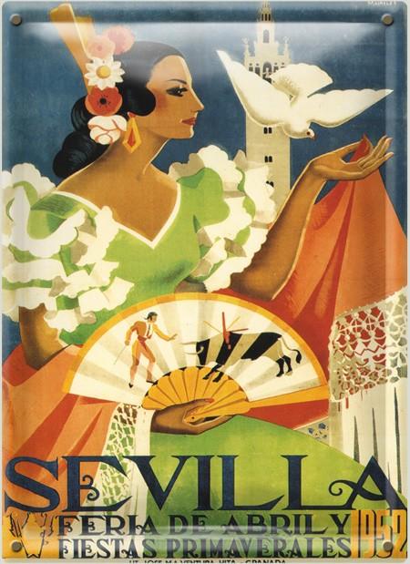 Postal Metálica Feria Sevilla 1952