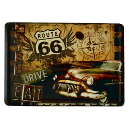 Postal Metalica Route66 Coche Marron