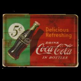 Postal Metálica Coca Cola 5 cents