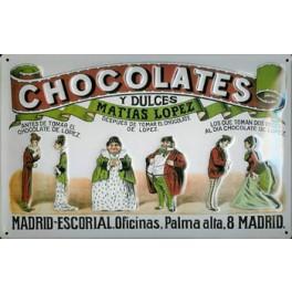 Postal Metálica Matias López, Chocolates y Dulces