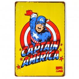 Chapa Metálica Capitan América Amarillo