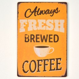 Chapa Metálica Coffee Amarilla