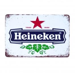 Cartel Metálico de Heineken blanco