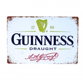 Cartel Metálico de Guinness blanco