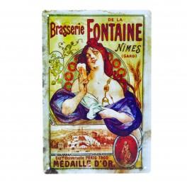 Cartel Metálico de Brasserie de la Fontaine