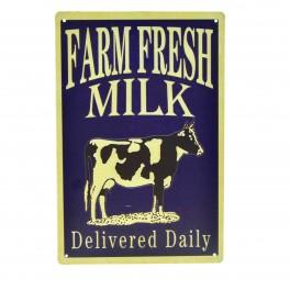 Cartel Metálico de Farm Fresh Milk