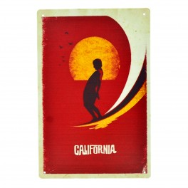 Cartel Metálico de California surf