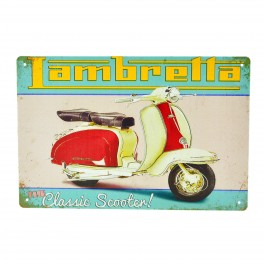 Cartel Metálico de Lambretta, the classic scooter