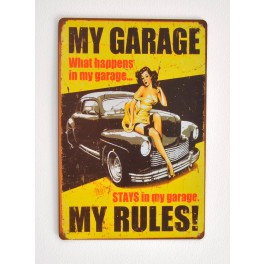 Cartel Metálico My Garage, My Rules Pinup