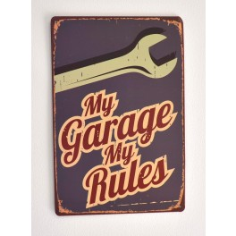 Cartel Metálico My Garage My Rules