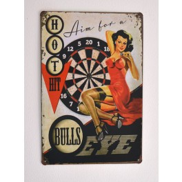 Cartel Metálico Pin up Bull´s Eye