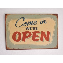 Cartel Metálico We are Open