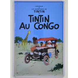 Cartel Metálico Tintín en el Congo