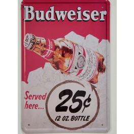 Cartel Metálico de Cerveza Budweisser