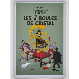 Cartel Metálico de Tintín, Las 7 Bolas de Cristal