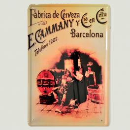 Cartel Metálico de Fábrica de Cerveza E. Cammany