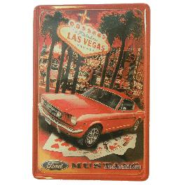 Cartel Metálico Mustang Vegas