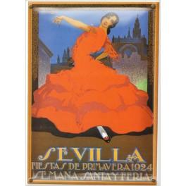 Postal Metálica Feria Sevilla 1924